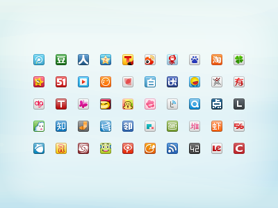 Redraw 50 Chinese Website Favicons favicon 16px chinese icon free freebie social sns