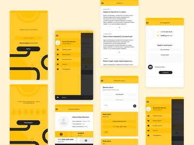 Mobile application for taxi service minimal app flat ux ui design