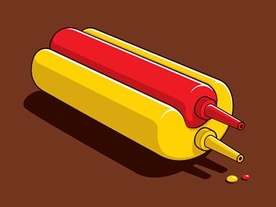 Sauce Set glennz glenn jones vector illustrator illustration ketchup mustard hotdog tshirt