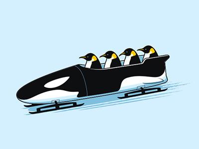 Polar Sports glennz glenn jones vector illustrator illustration penguin bobsled