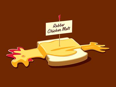 Rubber Chicken Melt glennz glenn jones vector illustrator illustration tshirt rubber chicken melt