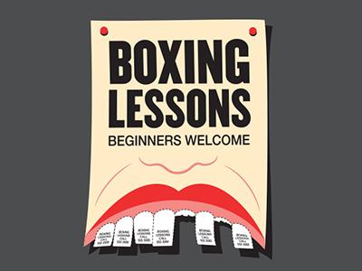 Boxing Lessons glennz glenn jones vector illustrator illustration flyer tshirt boxing