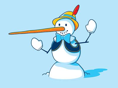 Snow Pinocchio glennz glenn jones vector illustrator illustration pinocchio snowman tshirt