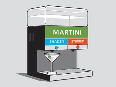 Shaken or Stirred glennz glenn jones vector illustrator illustration tshirt 007 james bond martini
