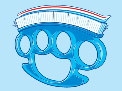 Dental Care glennz knuckle duster tooth brush tooth paste tee illustrator vector illustration