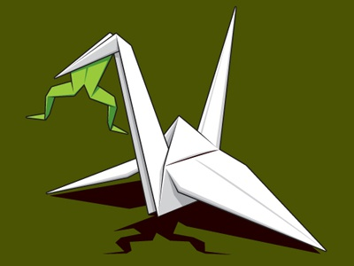 Paper Prey glennz paper crane prey frog origami tee tshirt