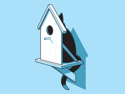 Perfect Plan glennz tee tshirt design concept vector illsutration illsutrator cat bird house