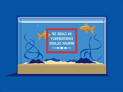 Emergency Exit fish tank goldfish illustration illustrator vector glenn jones glennz