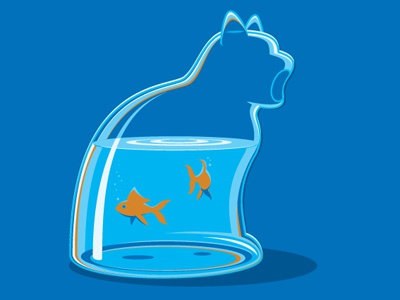 Ingested glennz tee shirt glass bowl goldfish illustrator illustration vector