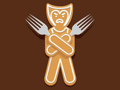 Gingerbread-X-Men wolverine gingerbread x-men t-shirt illustration vectorm illustrator glenn jones glennz