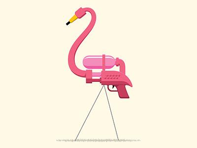 Sneak Attack bird water pistol water gun illustrator vector flamingo x-men t-shirt illustration glenn jones glennz
