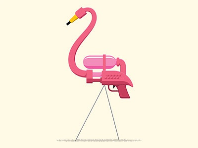 Sneak Attack bird water pistol water gun illustrator vector flamingo x-men t-shirt illustration glenn jones glennz