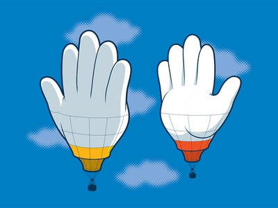 High Five high five hot air balloon t-shirt illustration illustrator vector glenn jones glennz
