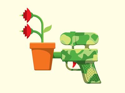 Smell The Roses t-shirt roses watergun illustration illutrator vector glenn jones glennz