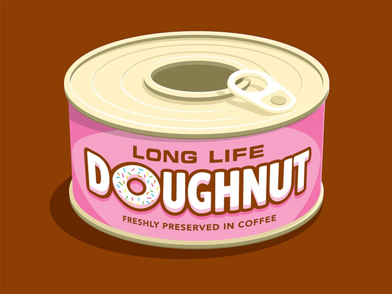 Long Life Doughnut t-shirt canned doughnut coffee illustration illustrator vector glenn jones glenn