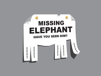 Missing Elephant missing elephant pull tag flyer illustrator illustration t-shirt glenn glenn jones