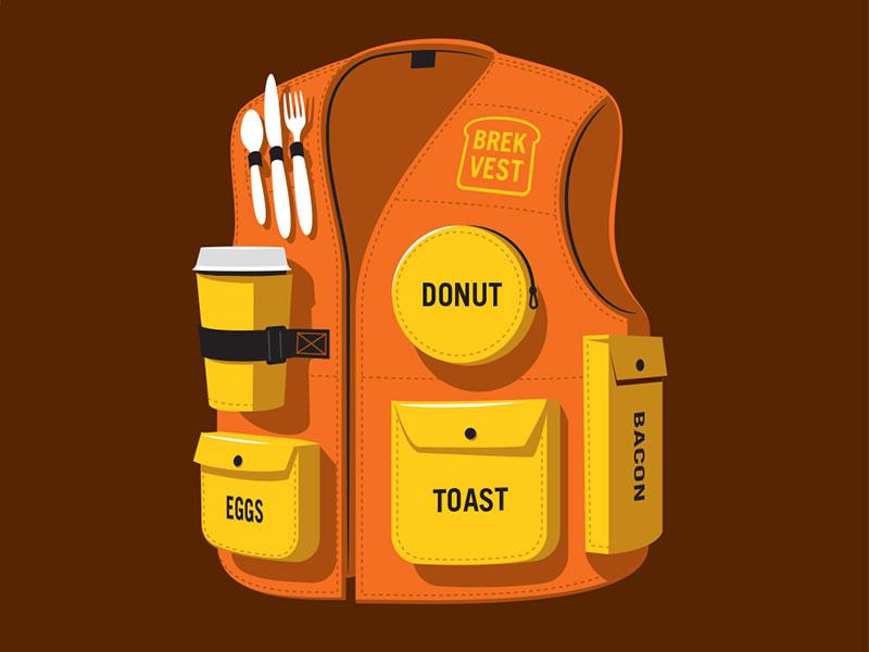 Brek Vest tshirt illustrator illustration vest breakfast glenn jones glennz