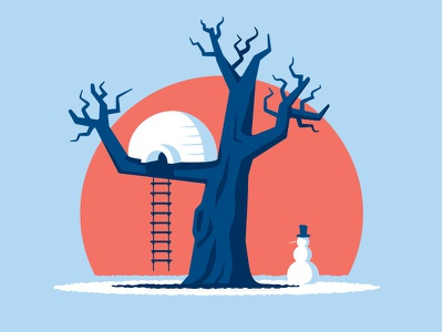 Tree Igloo treehouse igloo tshirt illustration illustrator vector glenn jones glennz