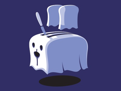 Ghoaster tshirt vector nz illustration ghost toaster glenn jones glennz
