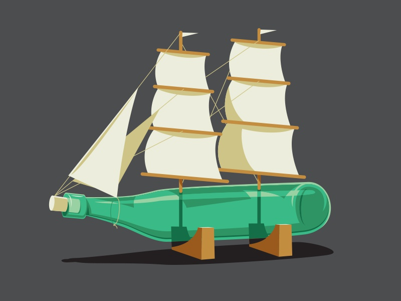 Bottle In A Ship illustration illustrator tshirt vector glenn jones ship in a bottle glenn