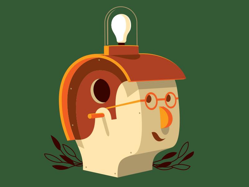 Bird Brain tshirt illustration illustrator bird brain birdhouse glenn jones glenn