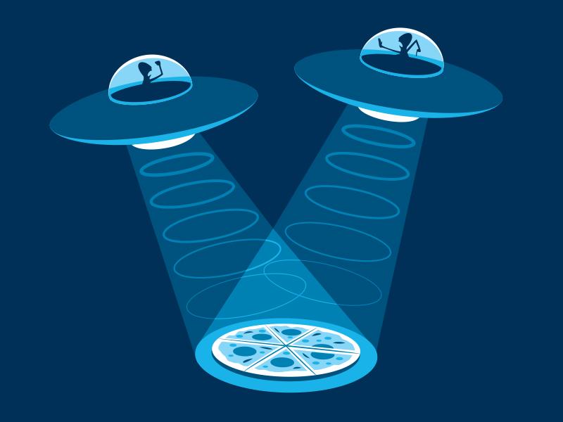 Pizza Fight vector illustration illustrator alien pizza ufo glenn jones glennz