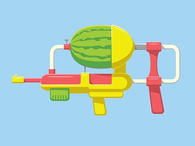 Watermelon Gun illustration illustrator watermelon water gun vector glenn jones glenn