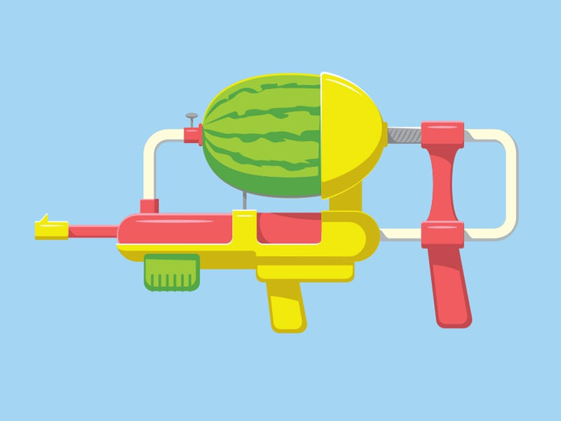 Watermelon Gun illustration illustrator watermelon water gun vector glenn jones glenn