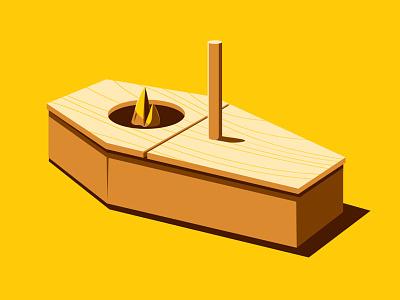 Open Casket illustration illustrator coffin birdhouse glenn jones glennz