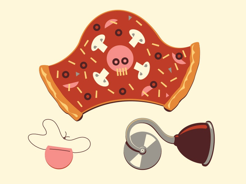 Pizza Pirate illustration illustrator vector pirate pizza glenn jones glennz