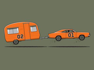 On Vacation Tshirt glennz glenn jones vector illustration illustrator dukes of hazzard general lee
