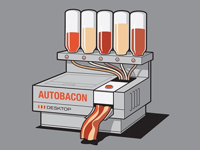 Autobacon glennz glenn jones bacon machine illustrator illustration tee tshirt