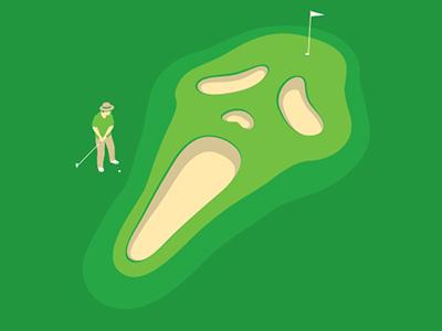Horror Hole glennz glenn jones vector illustrator illustration golf scream tshirt