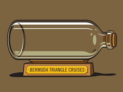 Keepsake Tshirt glennz glenn jones vector illustrator illustration tshirt bermuda triangle ship in a bottle