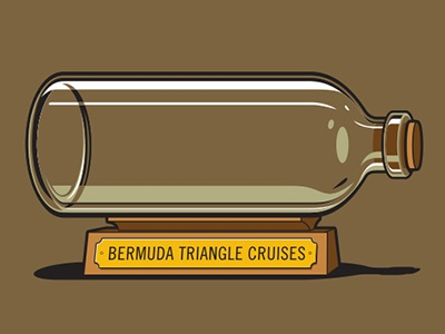 Keepsake Tshirt glennz glenn jones vector illustrator illustration tshirt bermuda triangle ship in a bottle