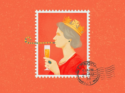 THE QUEEN'S TOAST portrait illustration portrait crown stamp drink toast cheers england elizabeth queen photoshop illustrator illustration digital illustration art illustration digital illustration digital art