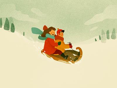 THROUGH THE SNOW xmas christmas kids sledding snow winter winter scene portrait photoshop illustrator illustration digital illustration art illustration digital illustration digital art