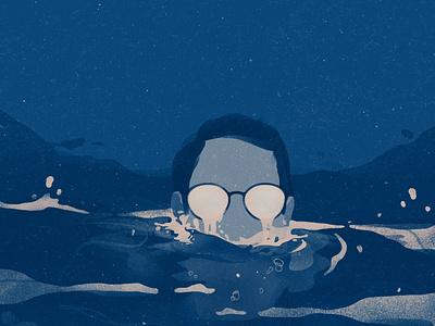 all rivers at once flow glasses sevdaliza river water blue sad crying metaphor conceptual portrait photoshop illustrator illustration digital illustration art illustration digital illustration digital art