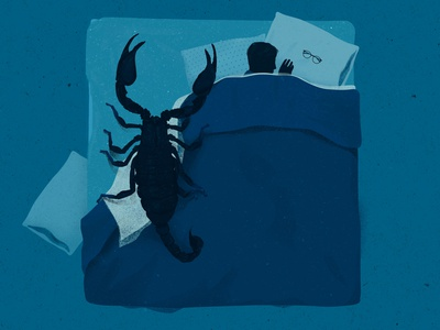 scorpion animal fear sleeping blue bedroom sleep insomnia phobia arachnid scorpion bed conceptual portrait photoshop illustrator illustration digital illustration art illustration digital illustration digital art