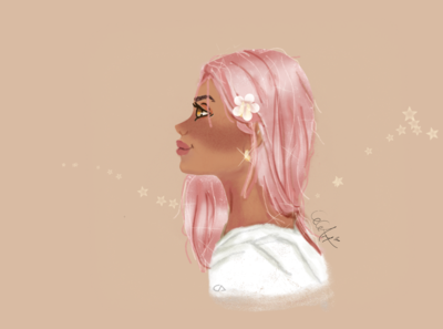 Digital Art Character Design: Woman with Pink Hair