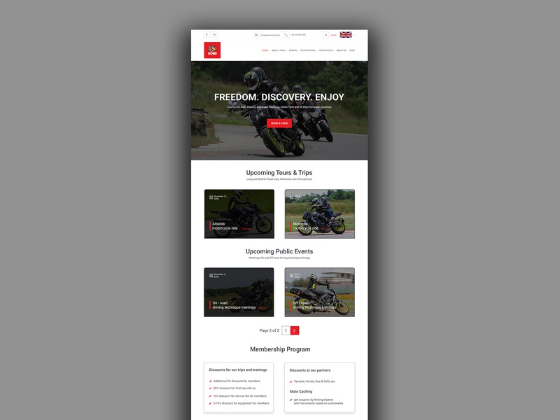 Motorcycle touring site web design ui ux