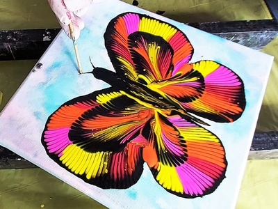 A BUTTERFLY - CHAIN PULL fluids artwork paintings art dirty pouring fluid pouring fluid acrylic illustration fluid art acrylic painting