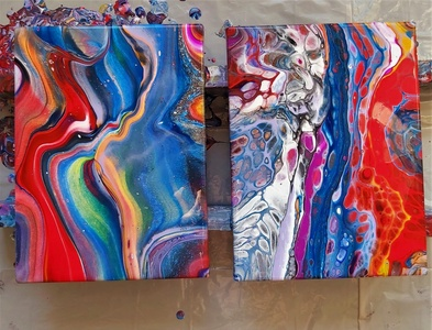 Fluid acrylic pouring-the second with silicone oil