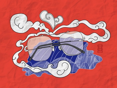 Showing you my glasses vector illustration