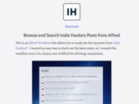 Indie Hackers Alfred Workflow