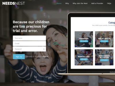 Needs Nest Landing Page development branding web design ux ui design