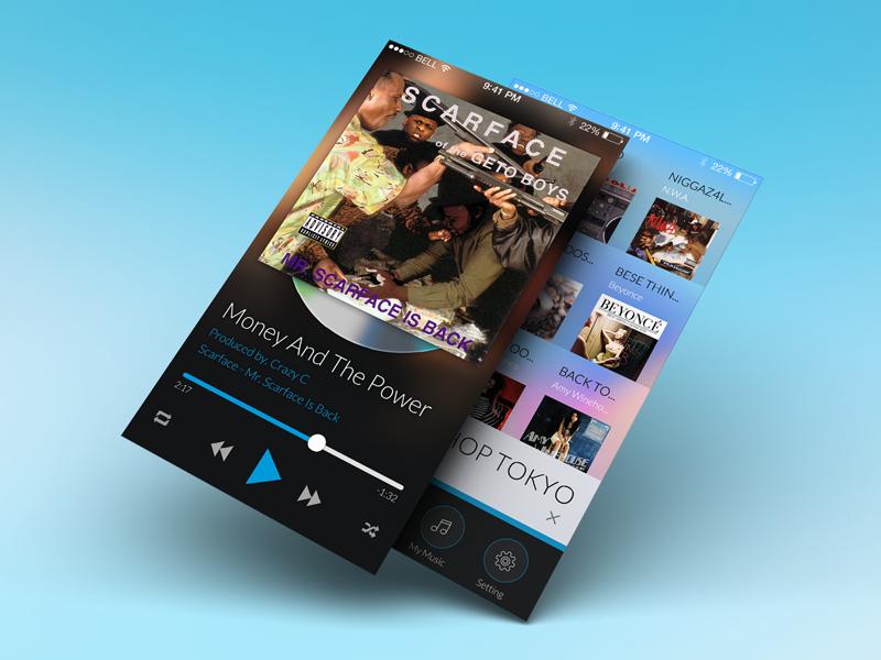 Music iphone music player flat