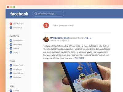 Facebook Redesign ui redesign facebook web