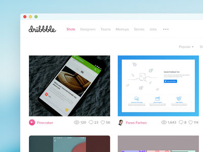 Dribbble Redesign flat simple white feed timeline design pc ui redesign dribbble web
