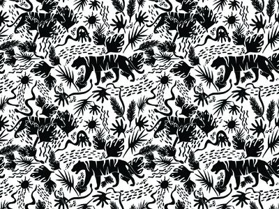 Jungle Cats, Black & White | Pattern